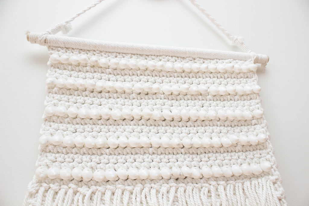 Boho Shell Tassel Wall Hanging - White - Large