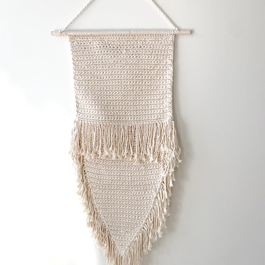 Boho Tassel Fringed Wall Hanging - Natural - Large