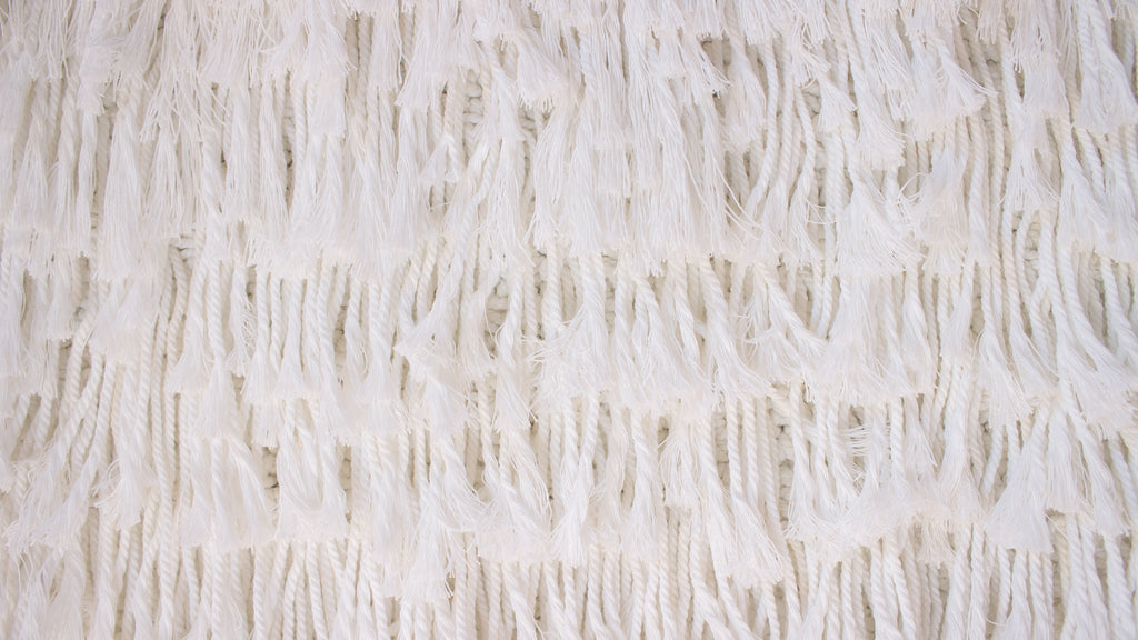 Boho Tassel Fringed Wall Hanging - White - XL