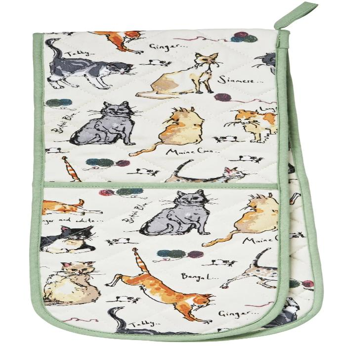 New! Madeleine Floyd Cats Cotton Double Oven Gloves