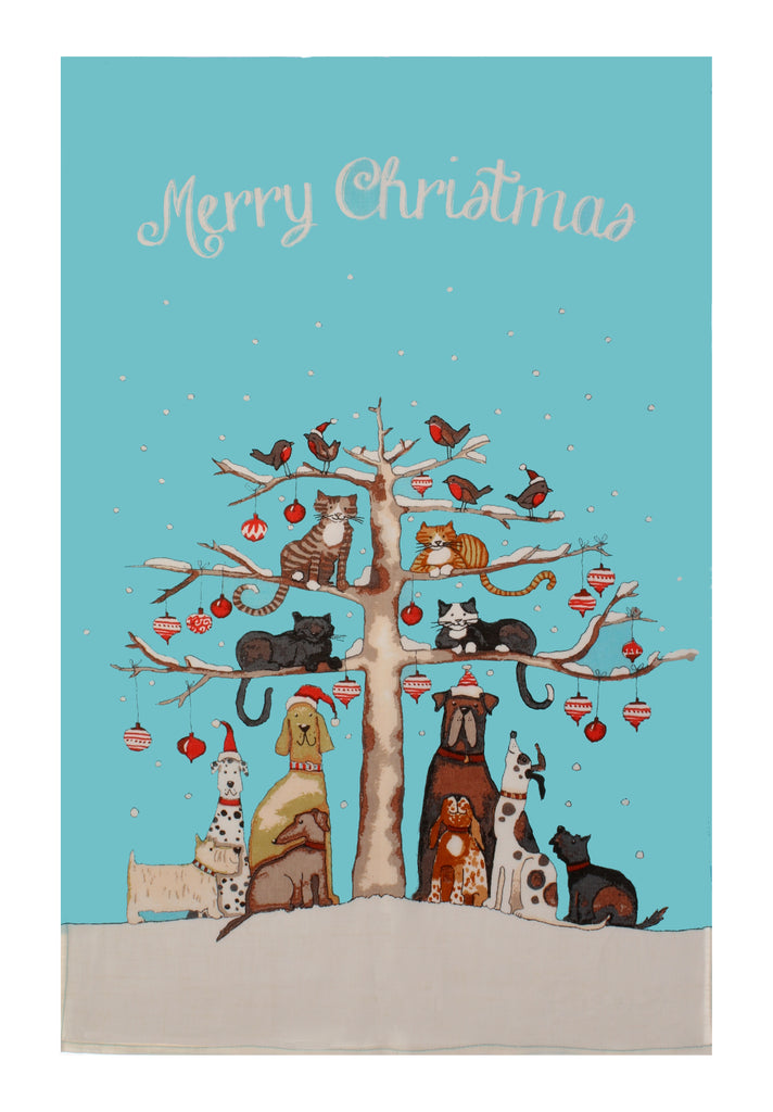 Christmas Cats and Dogs Tea Towel
