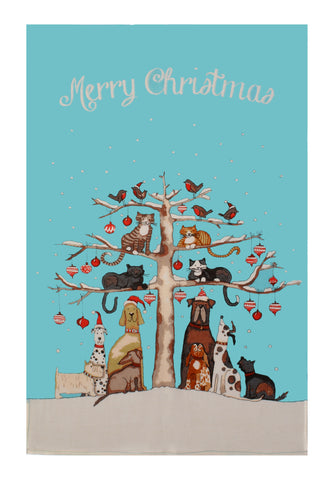 New! Christmas Cats and Dogs Tea Towel