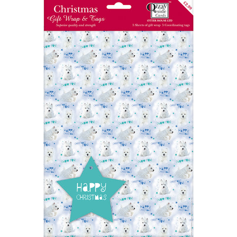 New for 2017! Giftwrap - Winter Wonderland Westie