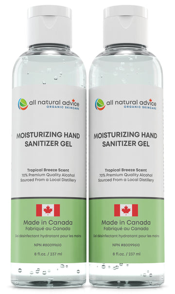PACK of 2 x 8oz NEW!  PREMIUM MOISTURIZING  HAND SANITIZER Antiseptic with 70% Alcohol, Moisturizing your Hands with Aloe and Essential Oils - Made in Canada