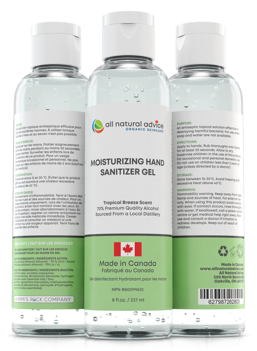 NEW!  PREMIUM MOISTURIZING  HAND SANITIZER Antiseptic with 70% Alcohol KILLS 99% of Germs, Moisturizing your Hands with Aloe and Essential Oils - Made in Canada