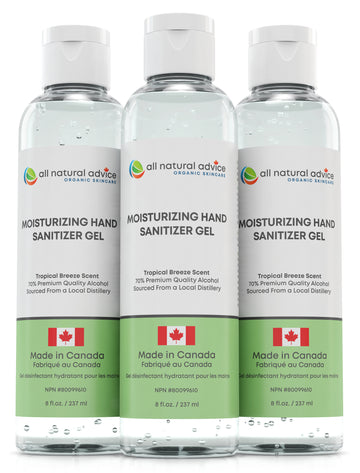 PACK of 3 x 8oz NEW!  PREMIUM MOISTURIZING  HAND SANITIZER Antiseptic with 70% Alcohol KILLS 99% of Germs, Moisturizing your Hands with Aloe and Essential Oils - Made in Canada