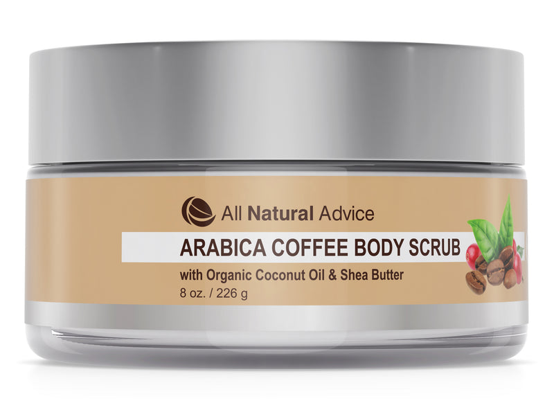 All Natural Advice Arabica Coffee Body Scrub with Organic Coconut Oil and Shea Butter