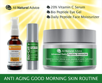 All Natural Advice Anti Aging Morning Routine Bundle – Includes 3 of our Best  Organic Skin Care, incluing 20% Vitamin C Serum, Bio Eye Gel and Daily Face Peptide Moisturizer