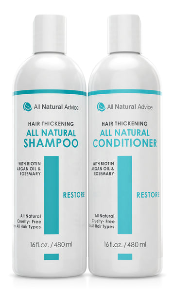 2 Pack - Organic Hair Thickener & Re-Growth  Shampoo & Conditioner