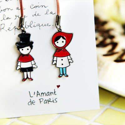 Couple Mobile Strap L'amant de Paris - Red