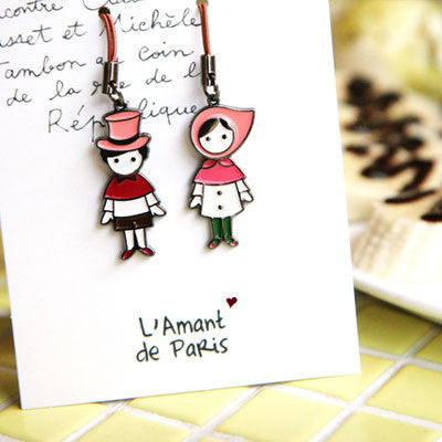 Couple Mobile Strap L'amant de Paris - Pink