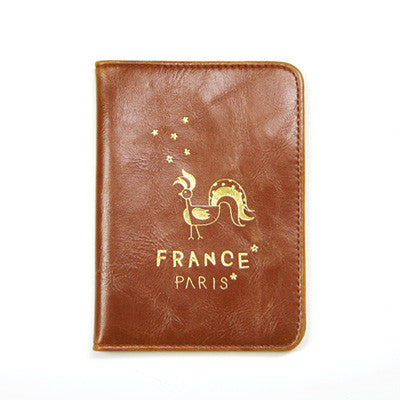Passport Cover -  Around The World - France Paris - Brown
