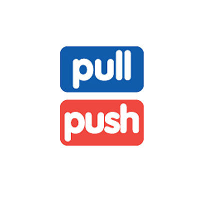 Sticker MMMG 03 - Pull-Push - Blue-Red