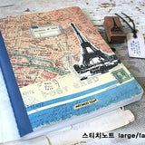 Stitch Line Notebook Fat - Eiffel Tower and Map - Blue