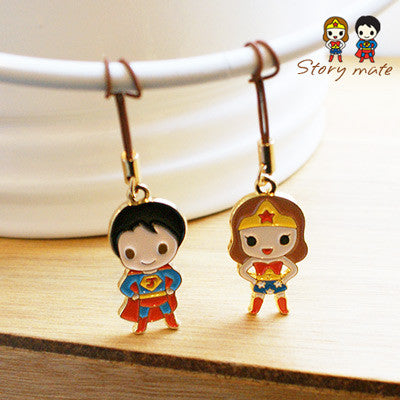 Couple Mobile Strap Story Mate - Super Hero - Superman & Wonder Woman