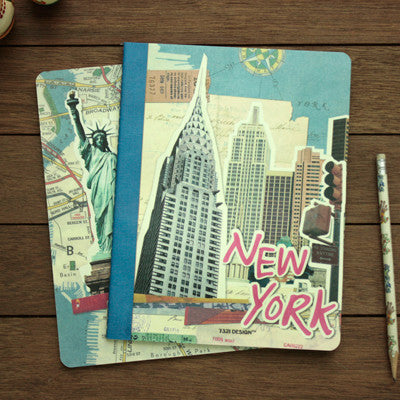 Stitch Notebook Slim - New York - Blue