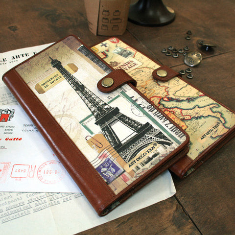 Leather Boarding Card + Passport Cover - Eiffel Tower - VY6877