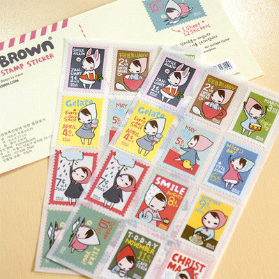Stamp Sticker Set - Pony Brown - Ver.1