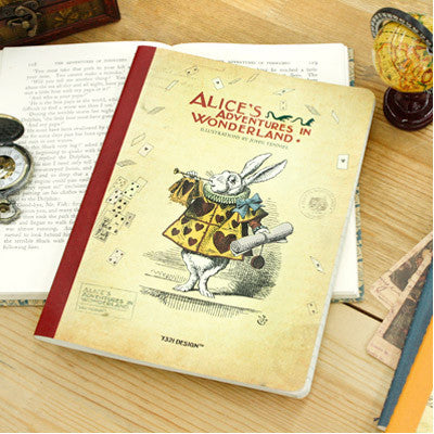 Stitch Line Notebook Fat - Alice in Wonderland - Red