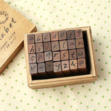 Wood Stamp Antique - Handwriting - Lower Case