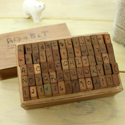 Set Wood Stamp Antique - Handwriting - Alphabet & Symbols