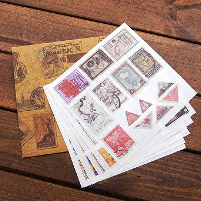 Stamp Sticker Set - Vintage Old Stamp