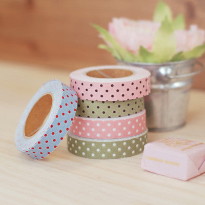 Fabric Adhesive Tape - Dot - Pink - 02