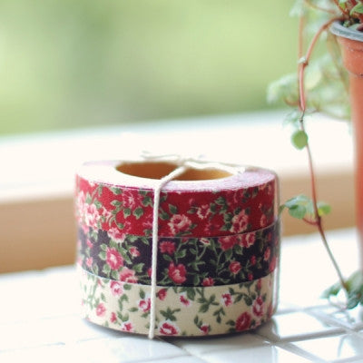 Fabric Adhesive Tape - Antique flower - Red