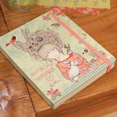 Hard Cover Grid Notebook Lady Desidia 03 - Handmade - LV9612