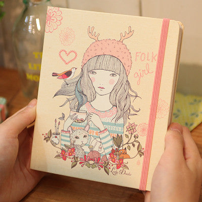 Hard Cover Grid Notebook Lady Desidia 06 - Folk Girl - LV8165