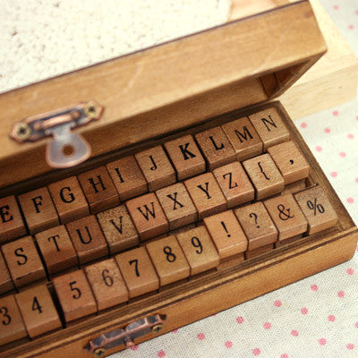 Set Wood Stamp Antique - Alphabet & Number - Ver.2