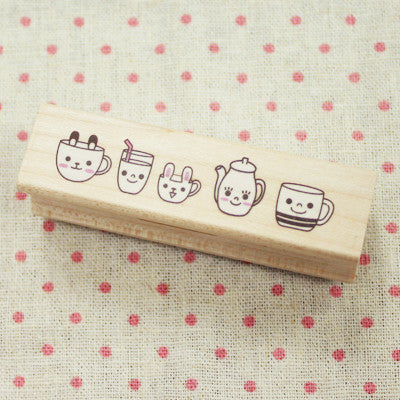 Long Line Wood Stamp - L05 - Cups