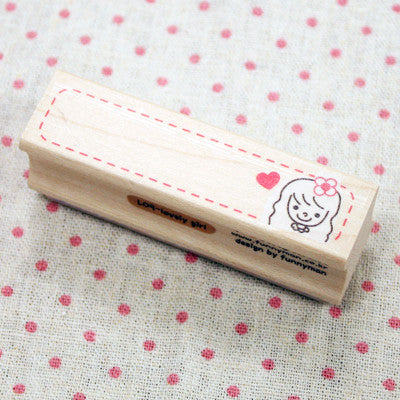 Long Line Wood Stamp - L09 - Lovely Girl