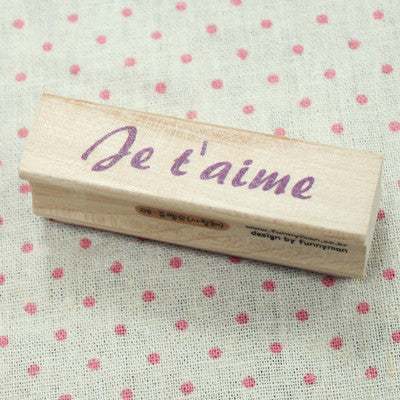 Long Line Wood Stamp - Message 08 - Je T'aime