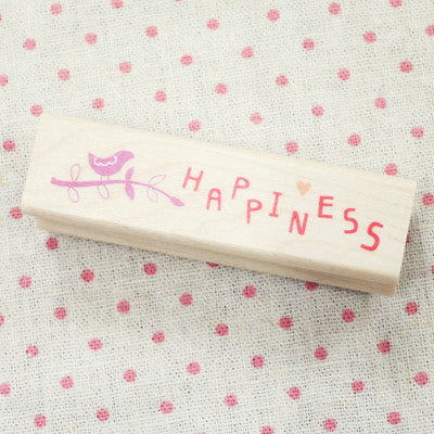 Long Line Wood Stamp - Message 16 - Happiness