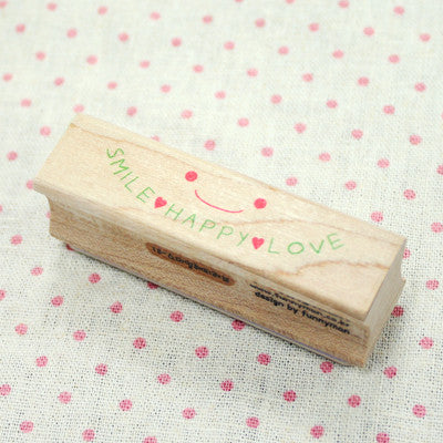 Long Line Wood Stamp - Message 18 - Smile Happy Love