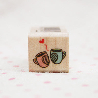 Wood Stamp - Deco - D02 - Couple Cups