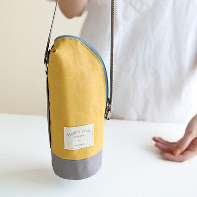 Linen Cooler Bottle Pouch - Mango