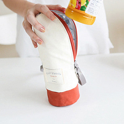 Linen Cooler Bottle Pouch - Cream