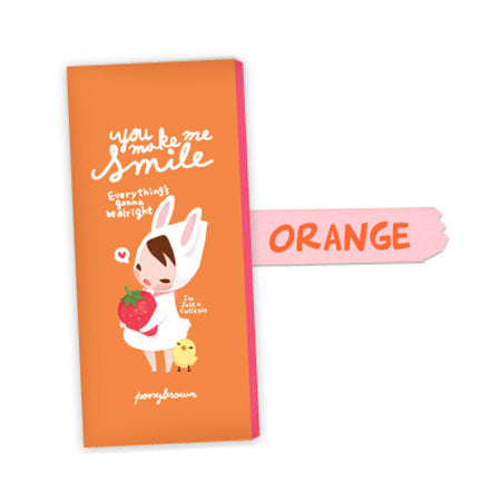 Pony Brown Pencil Pouch - You Make Me Smile - Orange