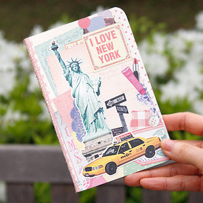 Stitch Notebook - New York - Vintage Collage - Line Note - Pocket - VY1781