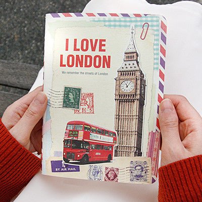 Stitch Notebook - London - Vintage Collage - Line Note - S - VY1705