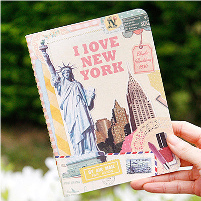 Stitch Notebook - New York - Vintage Collage - Line Note - S - VY1712