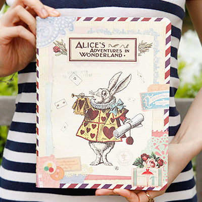 Stitch Notebook - Alice in Wonderland - Vintage Collage - Line Note - L - AL1606