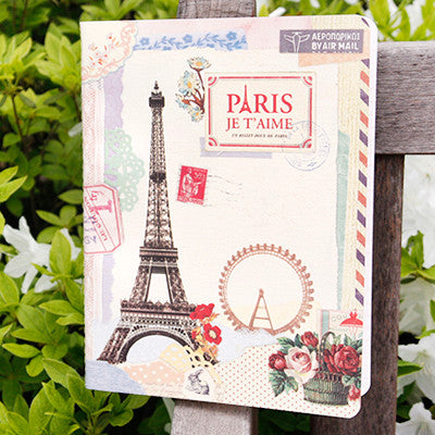 Stitch Notebook - Paris - Vintage Collage - Line Note - L - VY1620