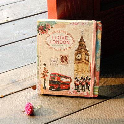Hard Cover Line Notebook Vintage Collage - London - VY1842