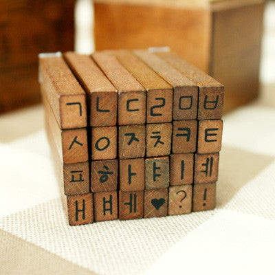Wood Stamp Antique - Handwriting Korean & Symbols