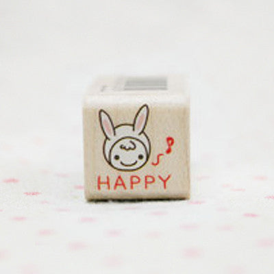 Wood Stamp - My Love - L14 - Happy