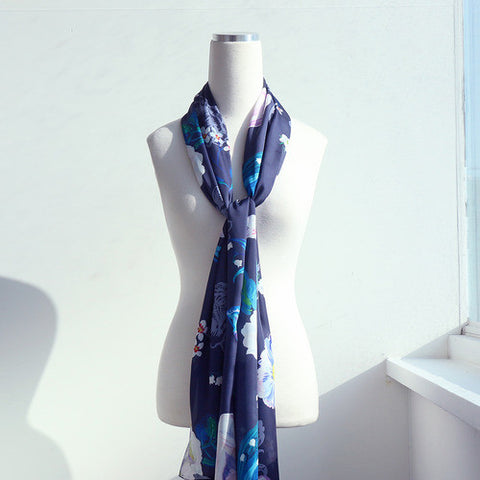 Satin Long Scarf Nathalie Lété - Night Flower - 56x180cm - NL84829