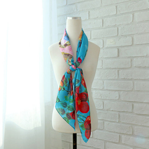 Satin Square Long Scarf Nathalie Lété - Blooming Cat - 110x110cm - NL84720